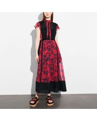 COACH - Horse Print Lacework Dress With Necktie - Lyst