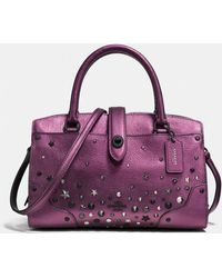 COACH - Mercer Satchel 24 In Metallic Leather With Star Rivets - Lyst