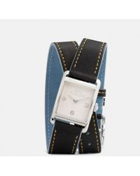 COACH - Renwick Leather Double Wrap Strap Watch - Lyst