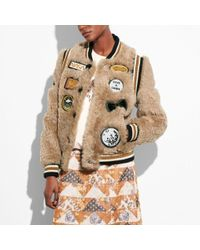 COACH - Shearling Varsity Jacket With Patches - Lyst