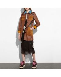 COACH | Leather Coat With Suede Details | Lyst