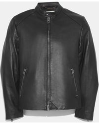 74d88564ea9 Lyst - COACH Washed Aviator Bomber Leather Jacket in Black for Men