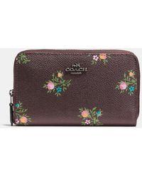 COACH - Medium Zip Around Wallet With Cross Stitch Floral Print - Lyst