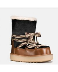 COACH - Shearling Bootie In Haircalf - Lyst