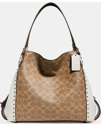 COACH - Edie Shoulder Bag 31 In Signature Canvas With Rivets - Lyst