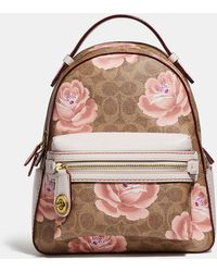 COACH - Campus Backpack 23 In Signature Rose Print - Lyst