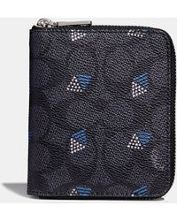 COACH - Small Zip Around Wallet In Signature Canvas With Dot Diamond Print - Lyst