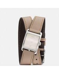 COACH - Renwick Leather Double Wrap Strap Watch - Lyst