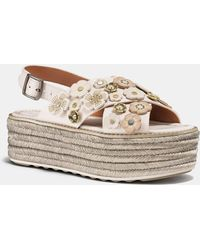 COACH - Espadrille Sandal With Tea Rose - Lyst