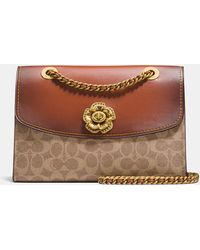 COACH - Parker In Signature Canvas With Tea Rose Turnlock - Lyst