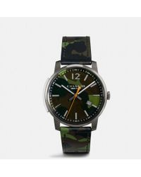 COACH - Bleecker Slim Camo Leather Strap Watch - Lyst