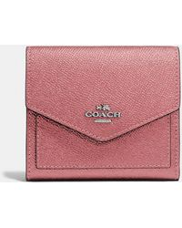 COACH - Small Wallet In Metallic Leather - Lyst
