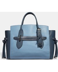 COACH - Shadow Carryall In Colorblock With Snakeskin Detail - Lyst