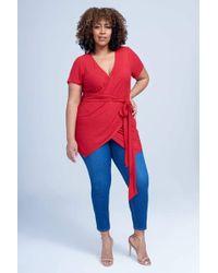 Seven7 - Faux Wrap Top In Haute Red - Lyst