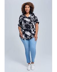 Seven7 - Short Sleeve Top With Piping In Caviar Combo - Lyst