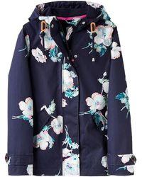 Joules Coast Print Waterproof Hooded Jacket - Blue