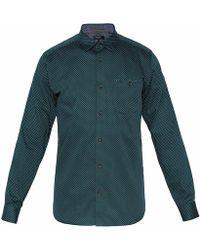 Ted Baker Skwere Polka Dot Shirt - Green