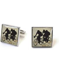 Tyler And Tyler - Square Stencilart Cycling Racers White Brick Enamel Cufflinks - Lyst