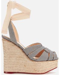 Charlotte Olympia - Gingham Wedged Sandals - Lyst