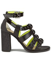 Markus Lupfer - Women's Glitter Black Balls Block Heeled Sandals - Lyst