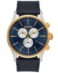 Nixon - The Sentry Chrono Leather Watch - Lyst
