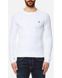 8c3289febc06 Lyst - Polo Ralph Lauren Cotton Logo Terry Sweatshirt in White for Men