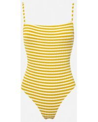 791a838c9b3c Solid   Striped  chelsea  Neon One-piece Swimsuit in Pink - Lyst