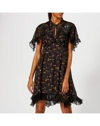 COACH - Forest Floral Printed Babydoll Dress - Lyst