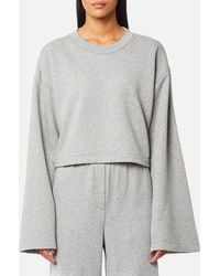 T By Alexander Wang - Tie Back Long Sleeve Crop Sweatshirt - Lyst