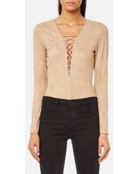 cfb045c63b17 T By Alexander Wang - Women s Stretch Faux Suede Lace Up Bodysuit - Lyst