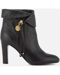 See By Chloé - Women's Leather Fold Over Heeled Ankle Boots - Lyst
