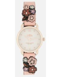 COACH - Women's Delancey Floral Applique Watch - Lyst