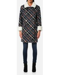 KENZO - Women's Double Breasted Fur Collar Coat - Lyst