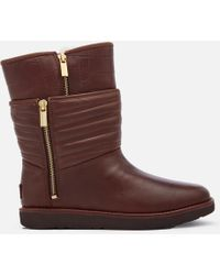 UGG - Aviva Classic Luxe Leather Short Boots - Lyst