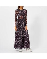 Ganni - Tilden Mesh Long Dress - Lyst