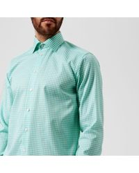 Eton of Sweden - Men's Contemporary Fit Extreme Cut Away Gingham Check Shirt - Lyst