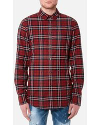 DSquared² - Men's Wired Collar Check Shirt - Lyst