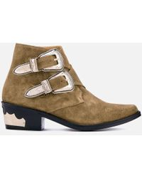 Toga Pulla - Women's Suede Double Buckle Heeled Ankle Boots - Lyst