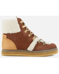 See By Chloé - Shearling Trim Ankle Boots - Lyst