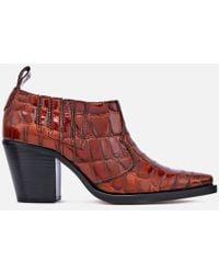 Ganni - Nola Croc-effect Leather Ankle Boots - Lyst
