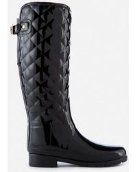 HUNTER - Women's Refined Gloss Quilt Tall Wellies - Lyst