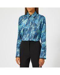 Victoria, Victoria Beckham - Women's Printed Poly Twill Front Triple Seam Shirt - Lyst