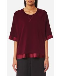 MM6 by Maison Martin Margiela - Pleated Trim T-shirt - Lyst
