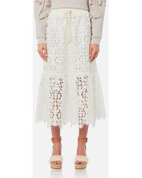 See By Chloé - Women's Jersey And Lace Skirt - Lyst