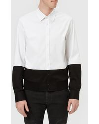 Neil Barrett - Men's Bicolour Rib Hem Shirt Bi Colour Workwear Shirting - Lyst