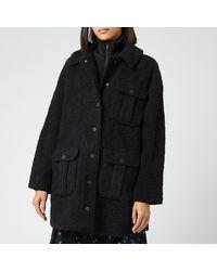 Ganni - Boucle Wool Coat - Lyst