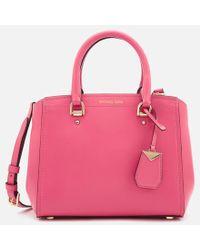 9cd7306abe1d MICHAEL Michael Kors Women s Delfina Large Saddle Bag in Green - Lyst