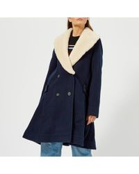 JW Anderson - Women's Swing Coat With Shearling Collar - Lyst