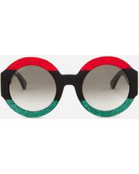 Gucci - Round Frame Sunglasses - Lyst