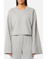 T By Alexander Wang - Women's Tie Back Long Sleeve Crop Sweatshirt - Lyst